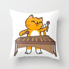 Cat Playing Vibraphone Vibraphonist Throw Pillow
