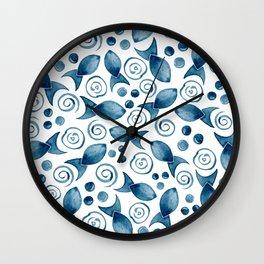 Little Fish + Spirals Pattern In Classic Blue Wall Clock