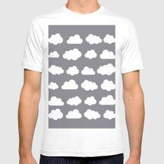 Grey clouds on grey winter skies MEDIUM White Mens Fitted Tee