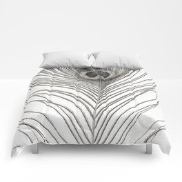 Black and White Peacock Feather Comforters