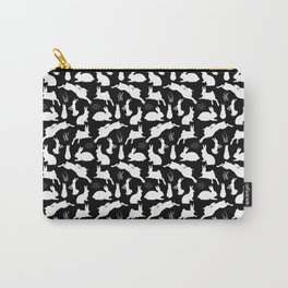 Rabbit Pattern | Rabbit Silhouettes | Bunny Rabbits | Bunnies | Hares | Black and White | Carry-All Pouch