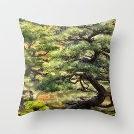 Sculptural pine trees in a Zen Garden in Kyoto. Throw Pillow