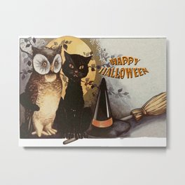 Owl and Cat Halloween Metal Print
