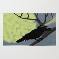 crow Area & Throw Rugs featuring Crow by Nir P