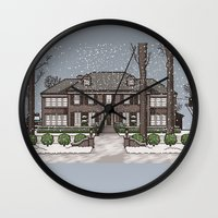 home alone Wall Clocks featuring Home Alone Christmas by M. Gulin