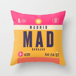 Retro Airline Luggage Tag - MAD Madrid Barajas Throw Pillow