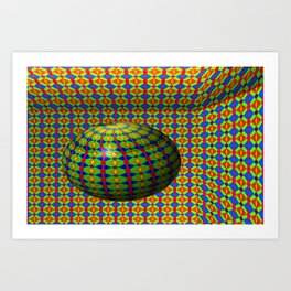 Colored pattern room with bowl Art Print