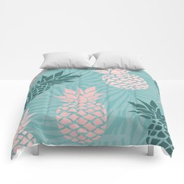 Tropical Pineapple and Palm Leaf Pattern, Teal and Pink Comforters