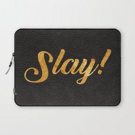 Slay Gold Metallic Typography Leather Background Laptop Sleeve