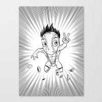 hentai Canvas Prints featuring KWeb #6 : Hentai Kamen (black & white) by Adrien ADN Noterdaem