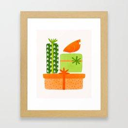 Bird With Gifts / Festive Scene Framed Art Print
