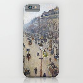 Camille Pissarro - Boulevard Montmartre, morning, cloudy weather iPhone Case