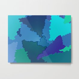 Blues and Greens Puzzle Patchwork Metal Print