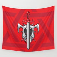 sword Wall Tapestries featuring Sword and Helmet Illustration by pixaroma