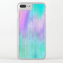 Modern abstract turquoise teal pink lilac watercolor brushstrokes Clear iPhone Case
