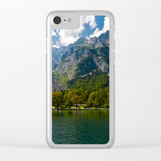 Germany, St. Bartholomew's Church, Alps Mountains, Koenigssee Lake Clear iPhone Case