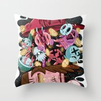 super mario Throw Pillows featuring Super Mario by James Burlinson