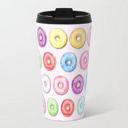 Watercolor Pastel Color Donut Pattern Travel Mug