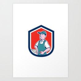 Bricklayer Mason Plasterer Shield Cartoon Art Print