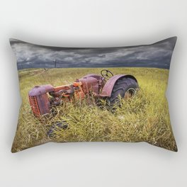 Abandoned Farm Tractor on the Prairie Rectangular Pillow