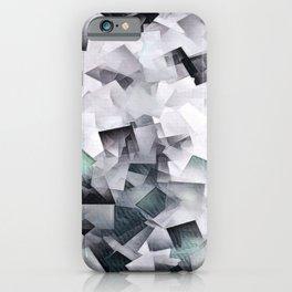 Geometric Stacks Mint Grays iPhone Case