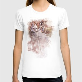 Miyazaki's Mononoke Hime - San and the Wolf TraDigital Painting T-shirt