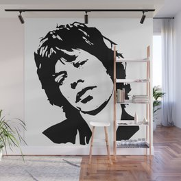 "Sir Michael Philip ""Mick"" JaggerBlack White Face, Music, Art Wall Mural"