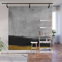 Black and Gold grunge stripes on modern grey concrete abstract backround I - Stripe - Striped Wall Mural