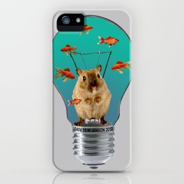 Bulb with Mouse and goldfishes iPhone Case