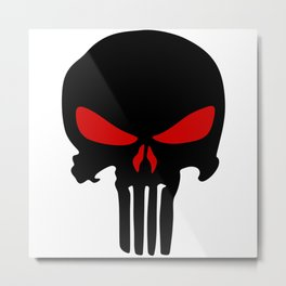 Black red Punisher skull Metal Print