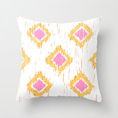 Simple, Painterly Ikat With Pink, Light and Dark Orange Throw Pillow