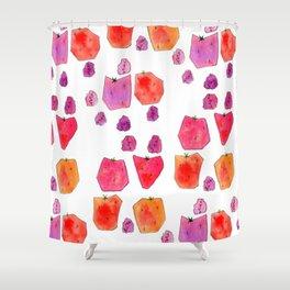 """Berry Happy!"" Strawberry Raspberry Illustration Fruits Pattern Kitchen Decor Food Shower Curtain"