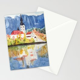 Church of the Assumption in Lake Bled Slovenia Stationery Cards