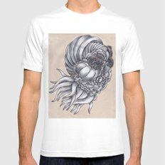 The Layered Squid White Mens Fitted Tee SMALL