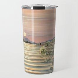 Sunset over a lake Travel Mug