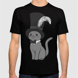 Grey Cat Wears Plumed Top Hat T-shirt