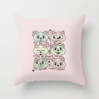kittens Throw Pillows featuring Kittens by Artificial primate