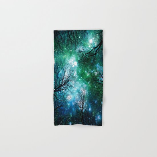 Black Trees Teal Green Space Hand & Bath Towel