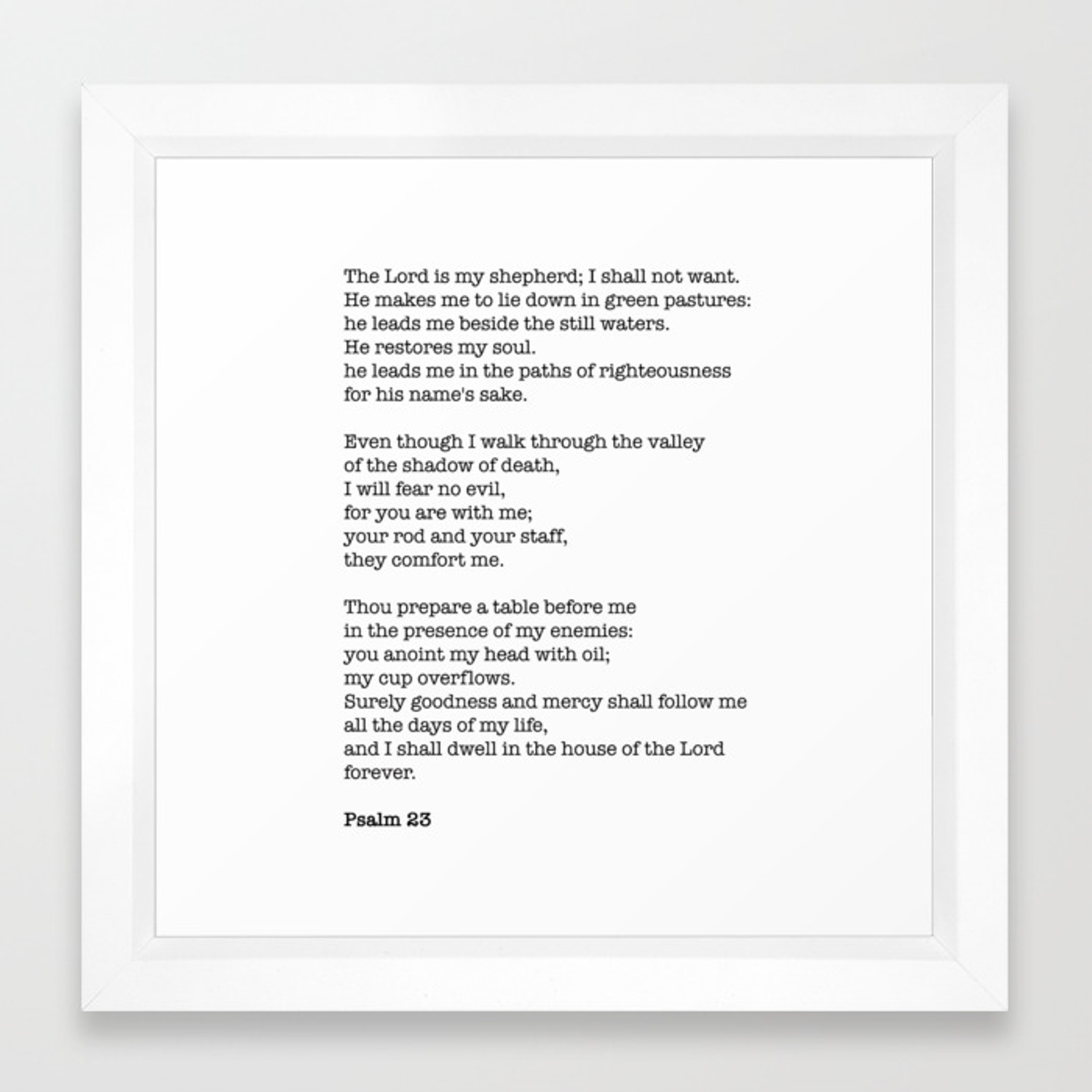 Psalm 23 Bible Verse Print - The LORD is my shepherd Framed Art Print
