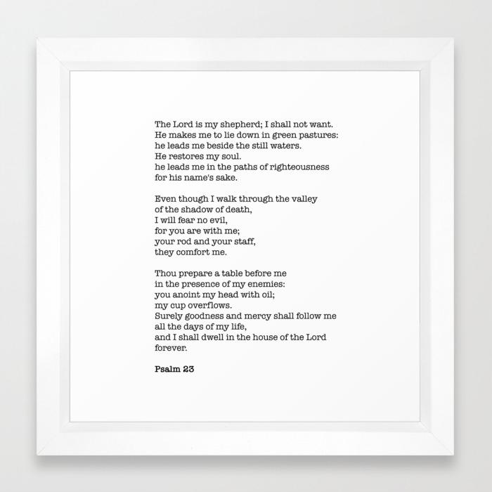 Psalm 23 Bible Verse Print - The LORD is my shepherd Framed Art Print