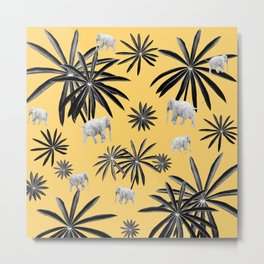 Palm Tree Elephant Jungle Pattern #4 (Kids Collection) #decor #art #society6 Metal Print
