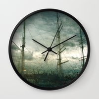 sailboat Wall Clocks featuring Sailboat by Fine2art