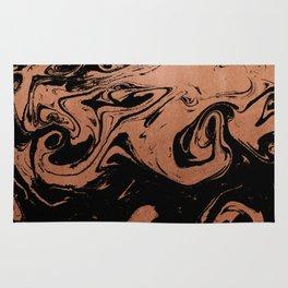 Suminagashi japanese spilled ink copper metallic marble pattern minimalist decor marbling Rug