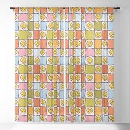 Rainbow Smiley Checkered Print Sheer Curtain