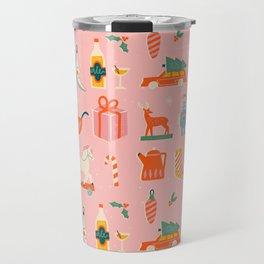 Vintage Christmas in pink Travel Mug