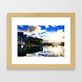Arctic Circle Sunset Behind a Ship on the Sea behind the Harpa Concert Hall in Reykjavik, Iceland Framed Art Print