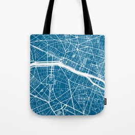 Blue City Map of Paris, France Tote Bag