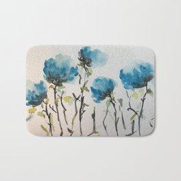 Blue Watercolor Flower Art Bath Mat