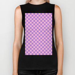 Cotton Candy Pink and Lavender Violet Checkerboard Biker Tank