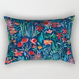 Tropical Ink - a watercolor garden Rectangular Pillow
